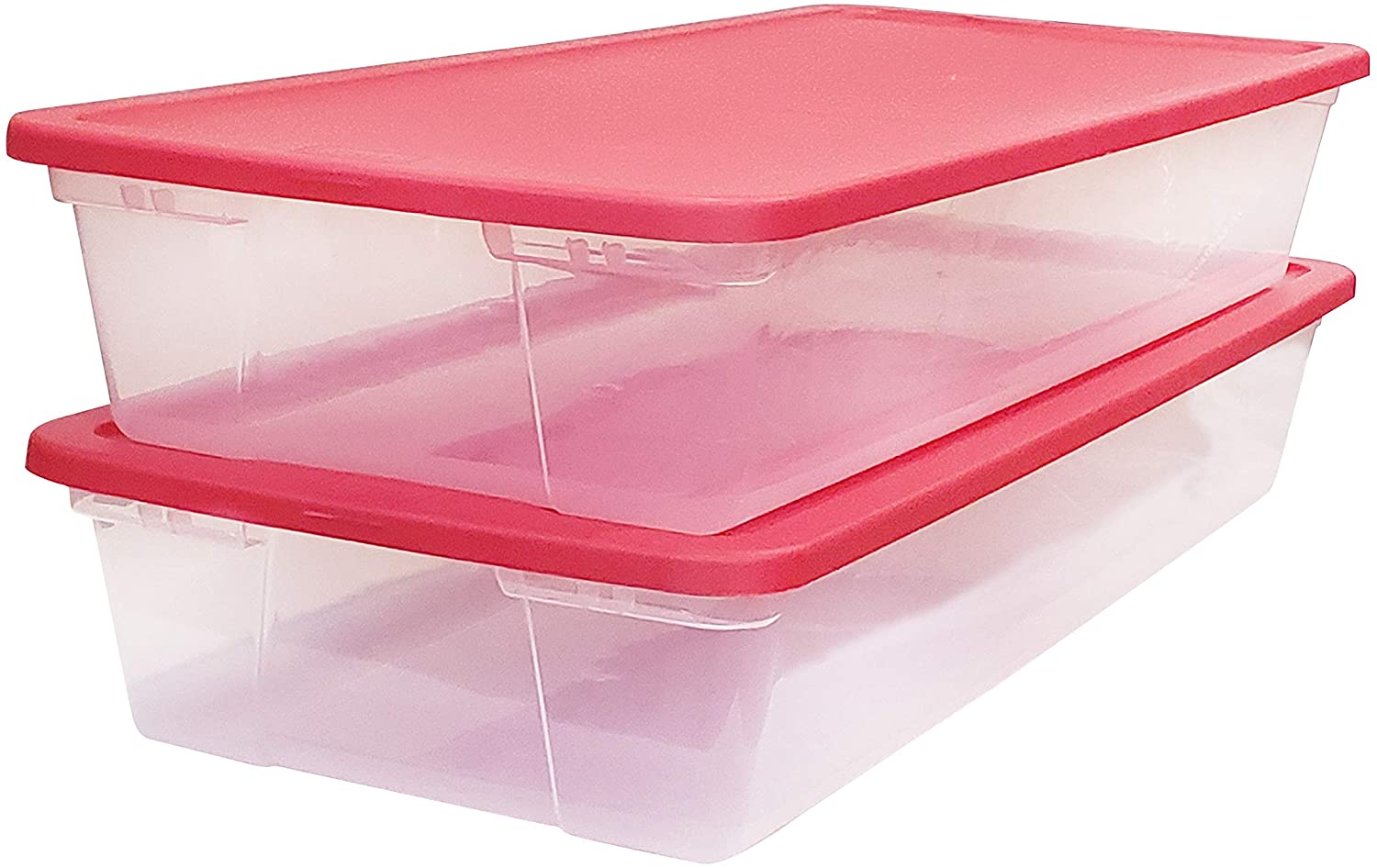 Plastic storage bins with lid that is red
