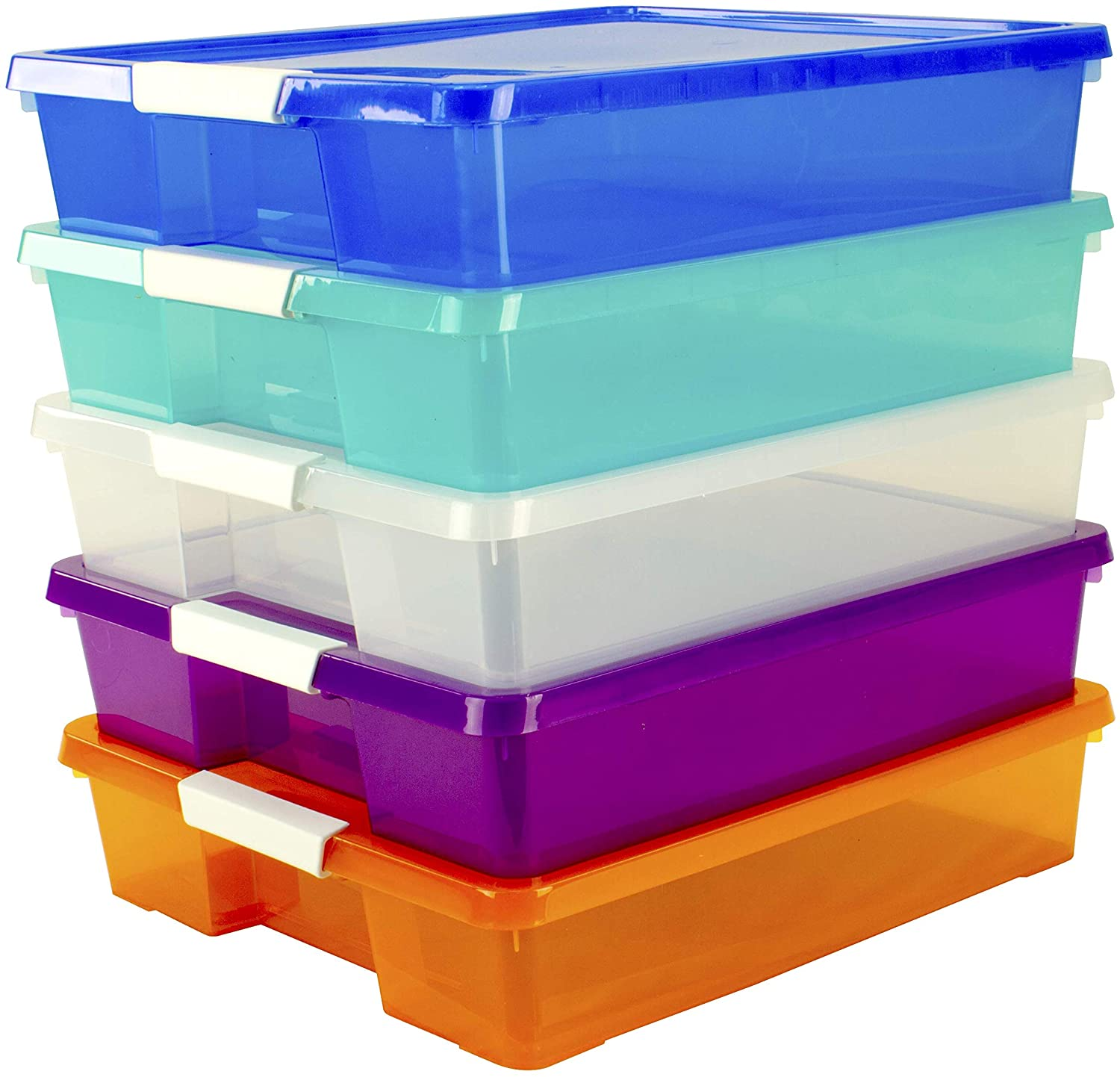 Rainbow-colored, plastic storage containers