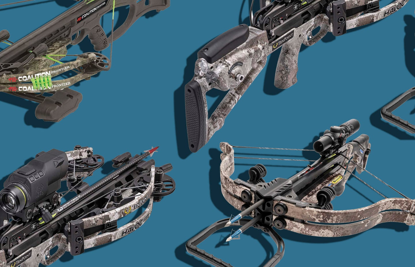 Four crossbow models cocked with arrows on a blue background.