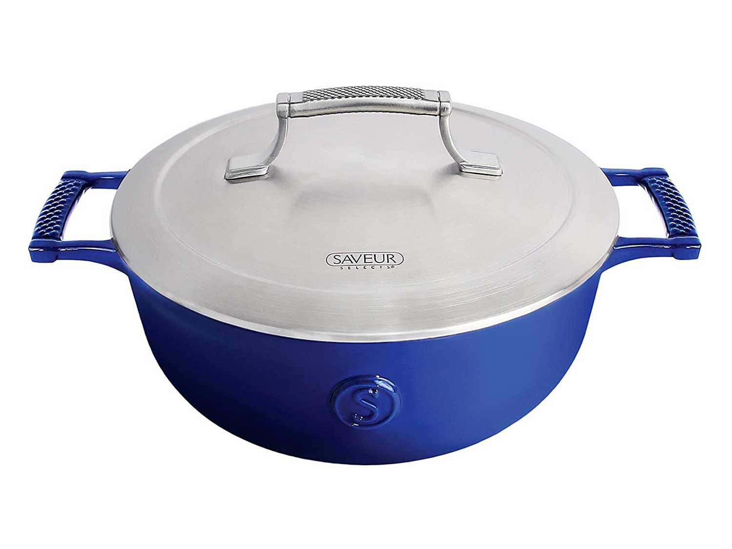 SAVEUR SELECTS Enameled Cast Iron 3-1/2-Quart Saucier with Stainless Steel Lid, Classic Blue, Voyage Series