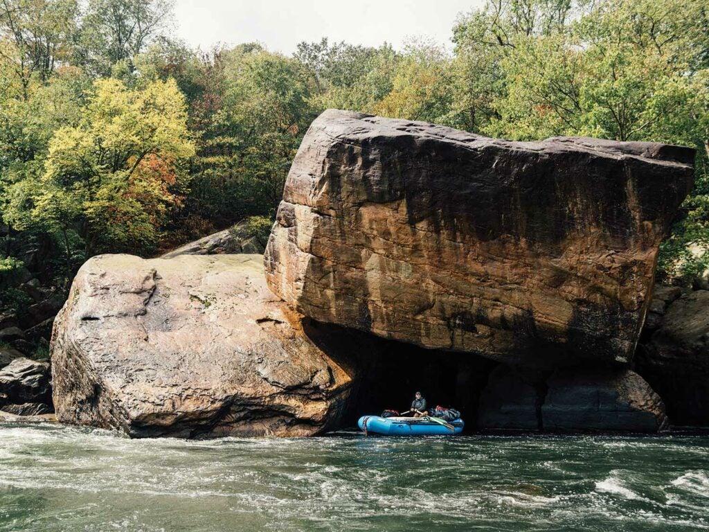 Massive boulders on a river side.