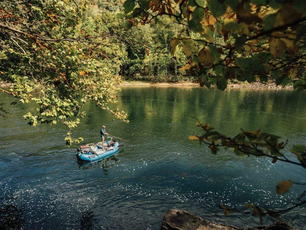 Angler fishing off a raft