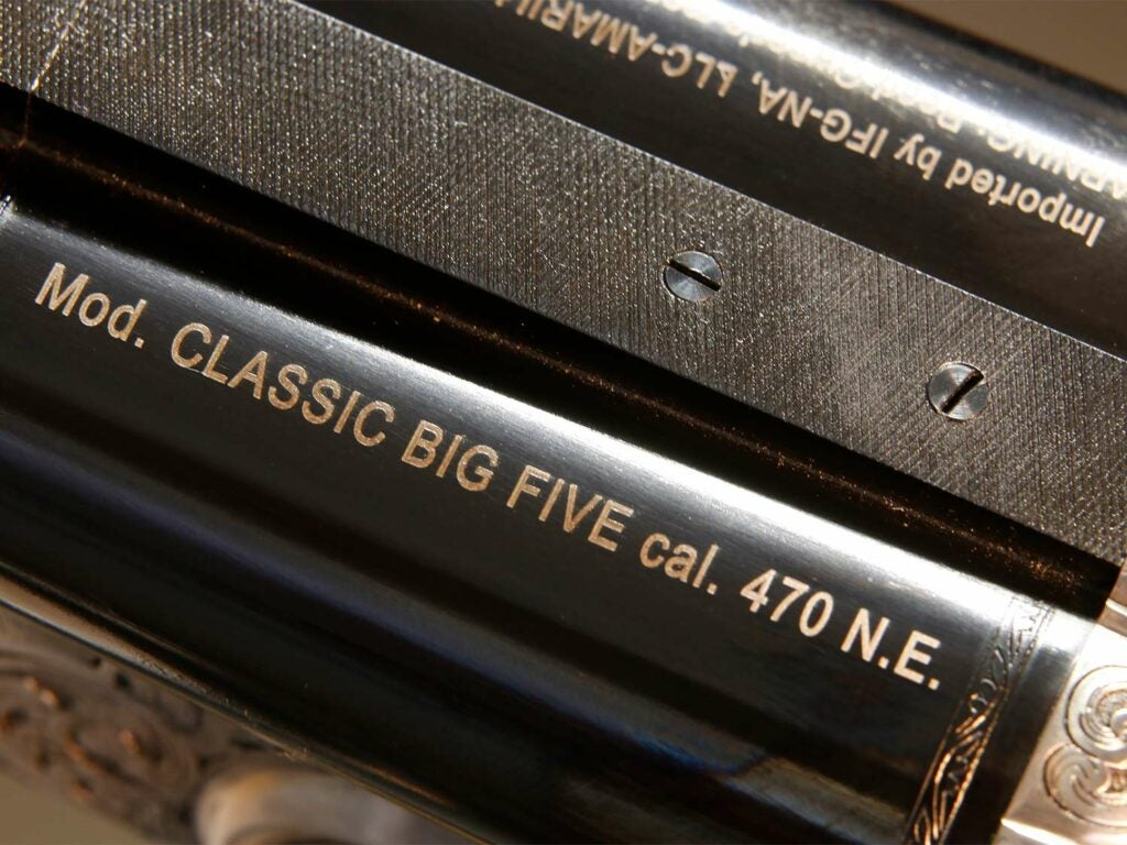 Close up of a double rifle barrel.