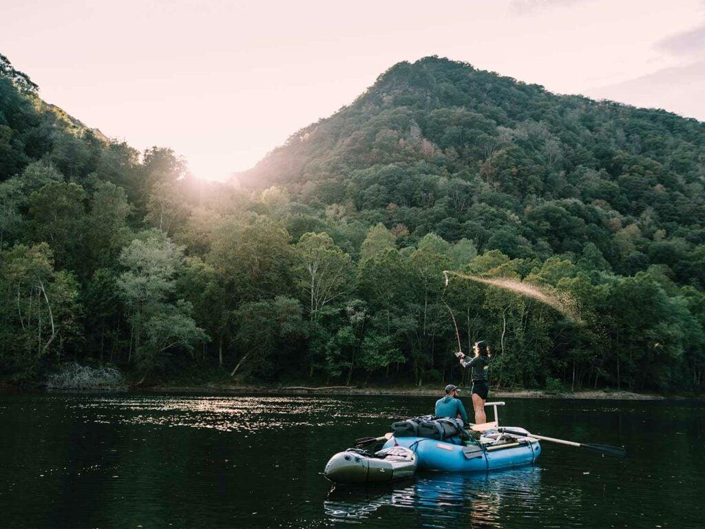 Anglers fishing on a raft.