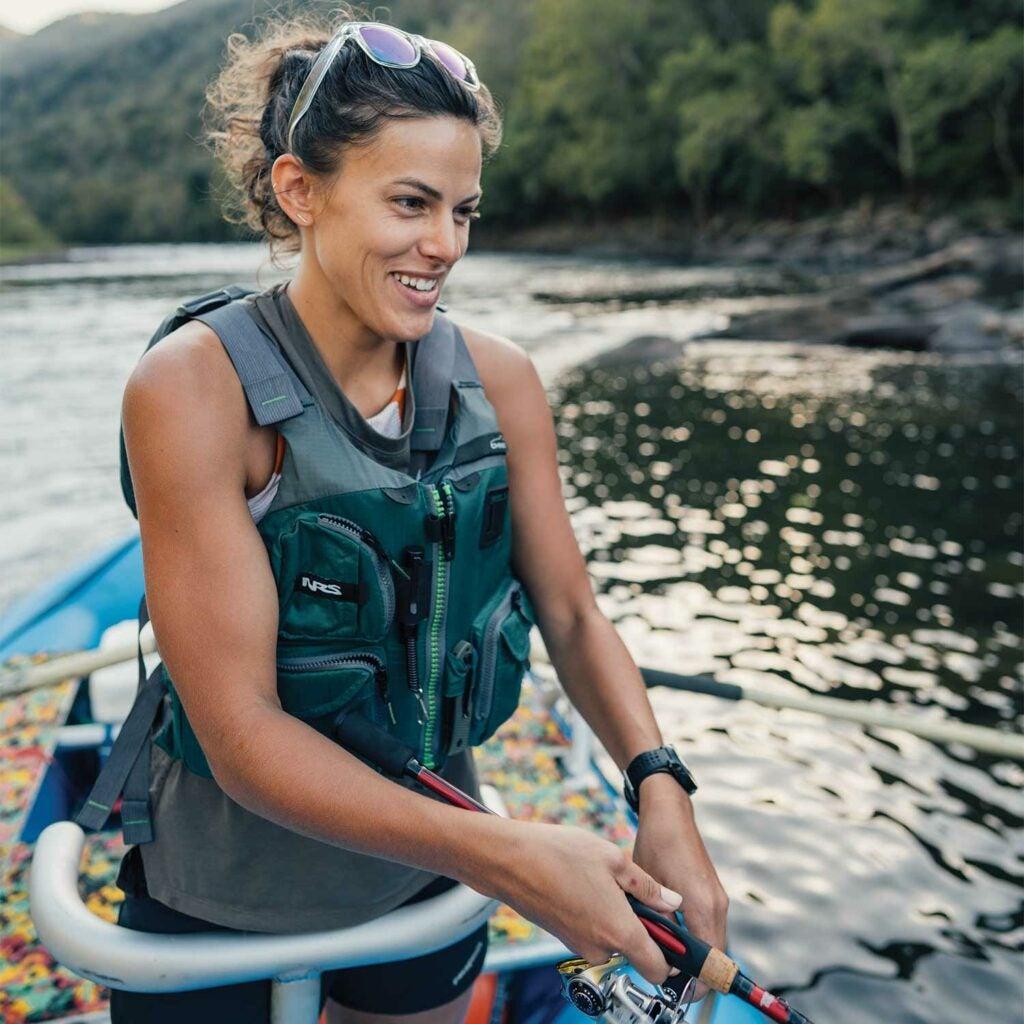 Natalie Krebs of Outdoor Life fishing on a raft.
