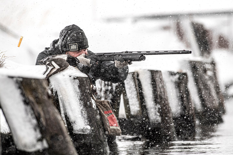 Luke Kjos takes aim with the new Benelli Super Black Eagle 3 20-gauge.