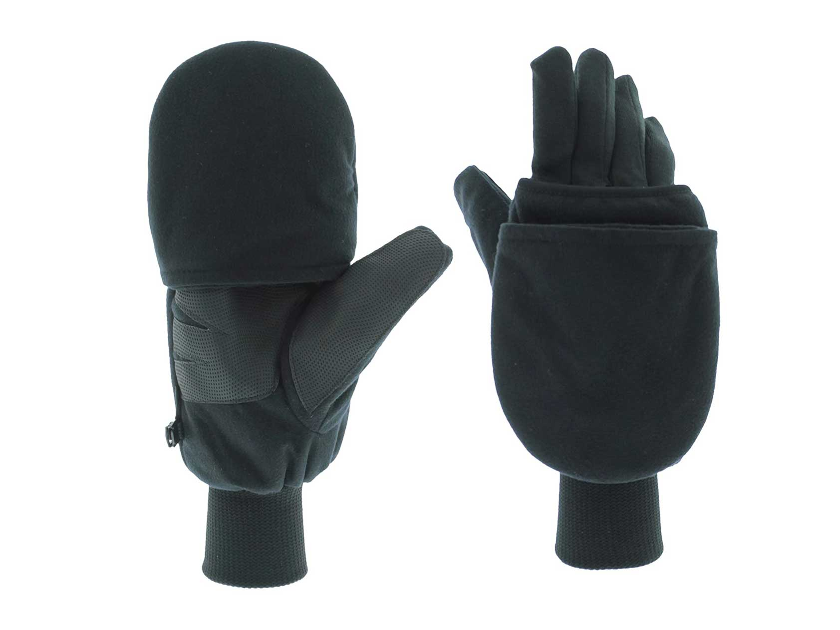 Heat Factory Gloves with Pop-Top Mittens, with Hand Heat Warmer Pockets, Black, Small