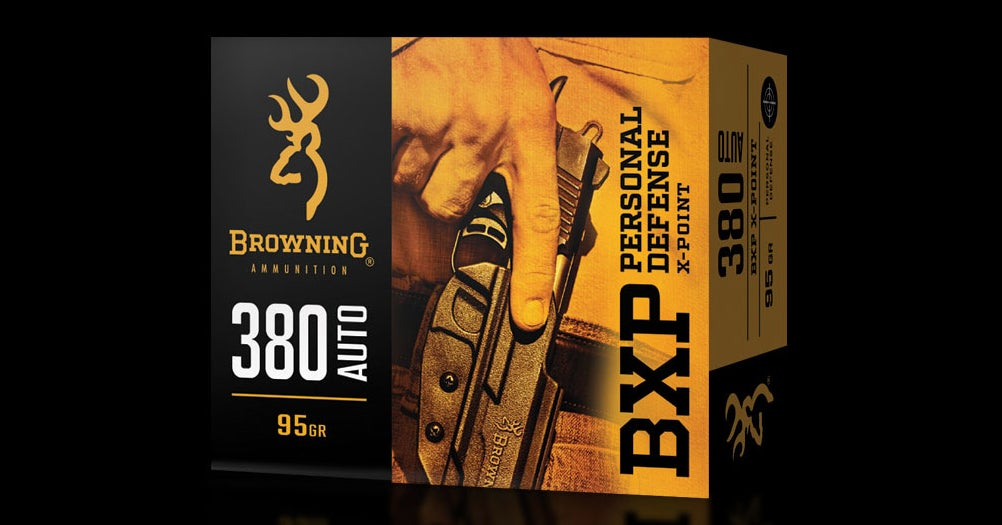 Browning X-Point Personal Defense handgun ammo is available in 9mm, 380 Auto, and more.