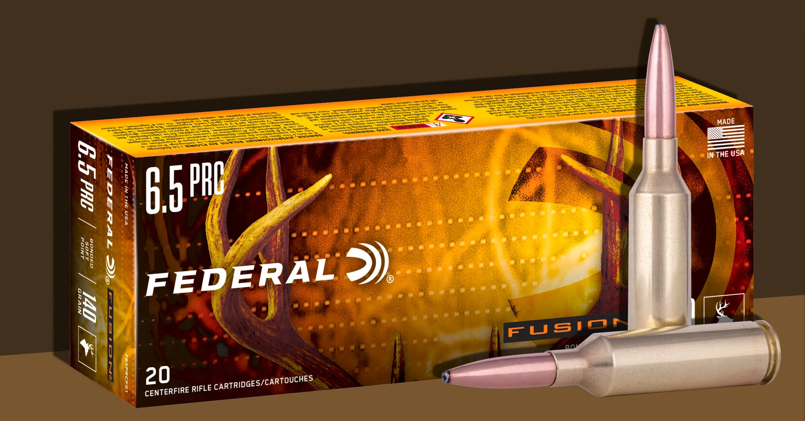 Federal Fusion big game rifle ammunition in the 6.5 PRC cartridge.