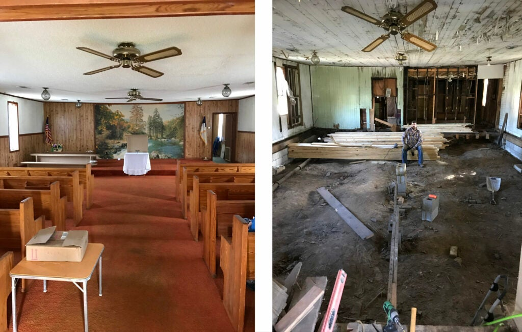A before and in progress picture of a church being renovated.