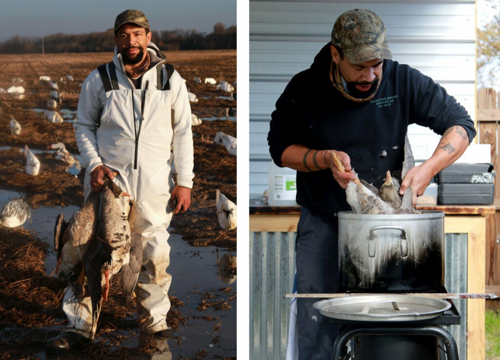 A hunter in a white suit holds a pair of specklebelly geese, then prepares to pluck it in a pot of wax.