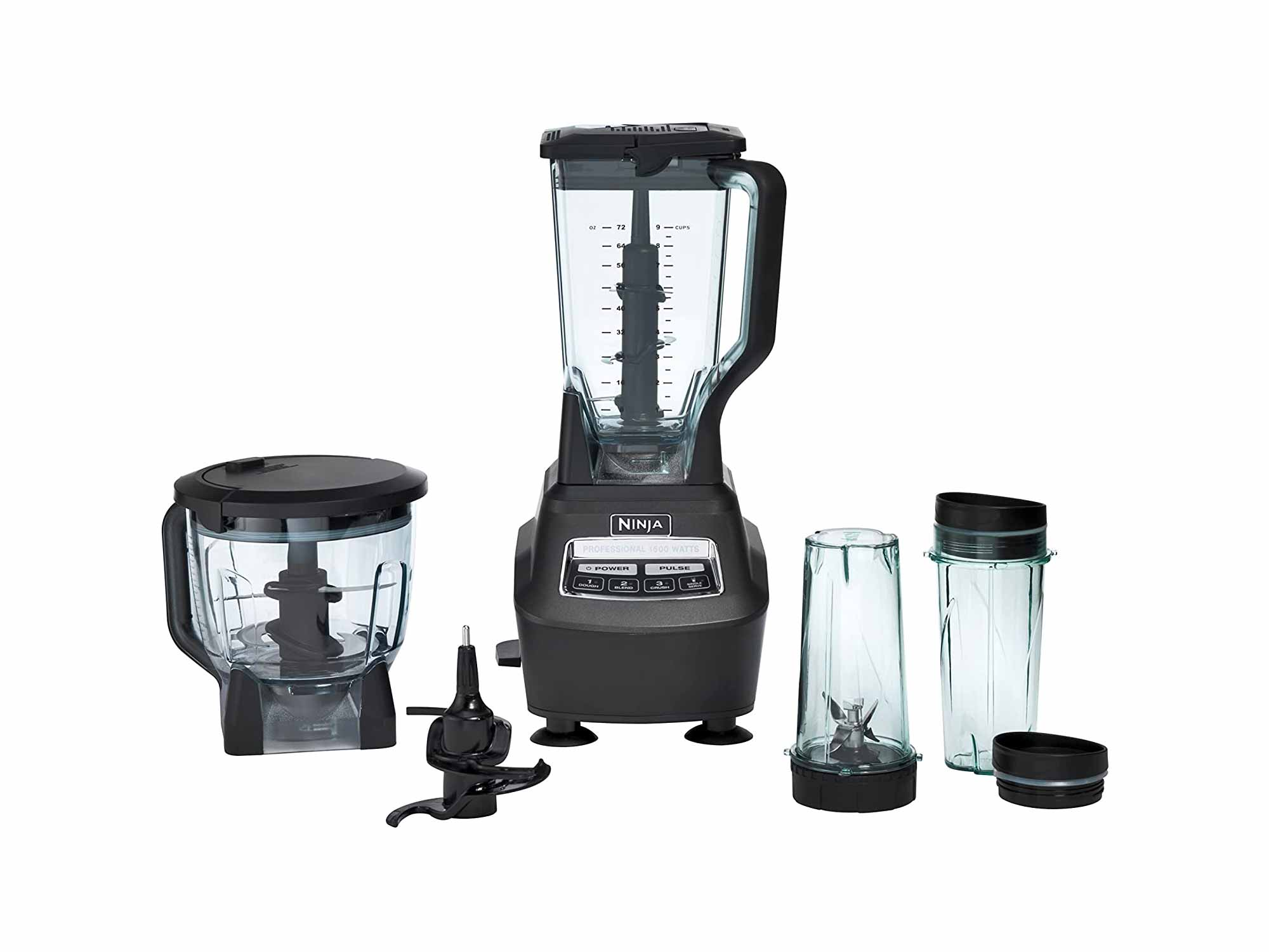 Ninja Mega Kitchen System and Blender with Total Crushing Pitcher, Food Processor Bowl, Dough Blade, To Go Cups, 1500-Watt Base, Black