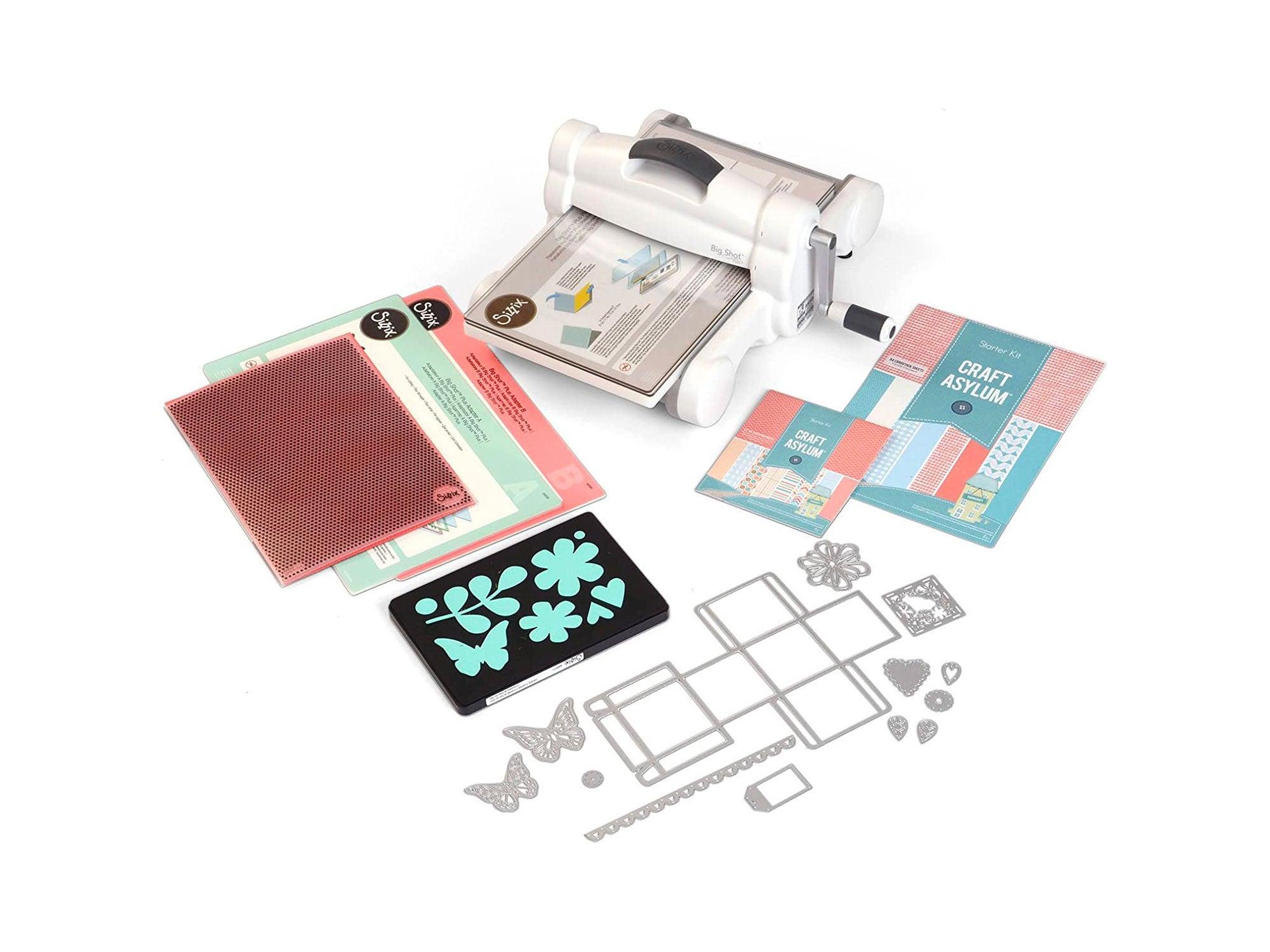 """Sizzix Big Shot Plus Starter Kit Manual Die Cutting & Embossing Machine for Arts & Crafts, Scrapbooking & Cardmaking, 9"""" Opening"""