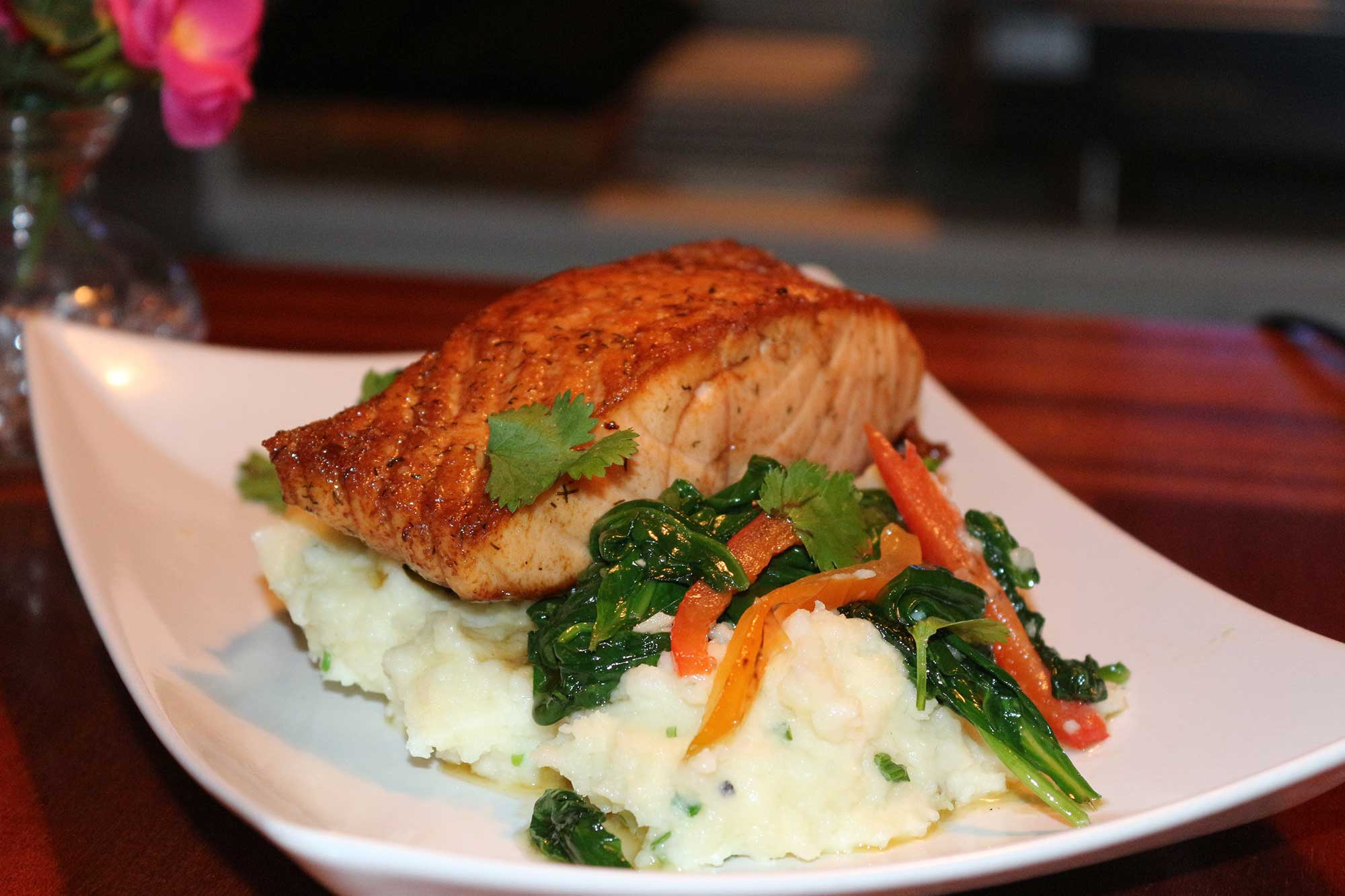 Salmon and mashed potatoes