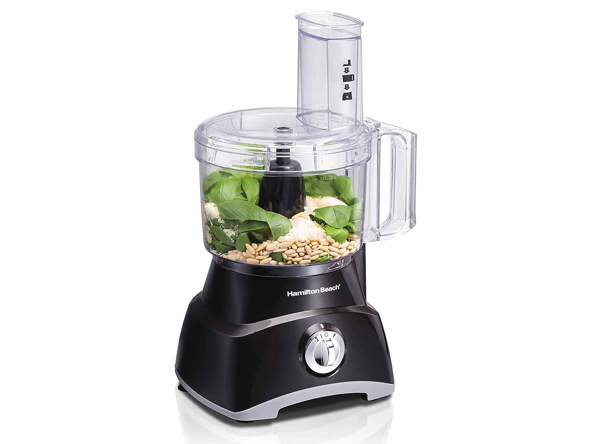 Hamilton Beach 8-Cup Compact Food Processor & Vegetable Chopper for Slicing, Shredding, Mincing, and Puree, 450 Watts, Black