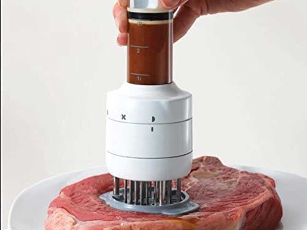 Shebaking Meat Tenderizer Tool with Ultra Sharp Stainless Steel Needle Blades, Flavor Marinade Meat Injector Syringe for BBQ Steak Beef Turkey Pork Chicken Grill Injector
