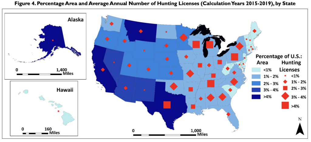 An infographic comparing geographic size with hunting license numbers, by state.