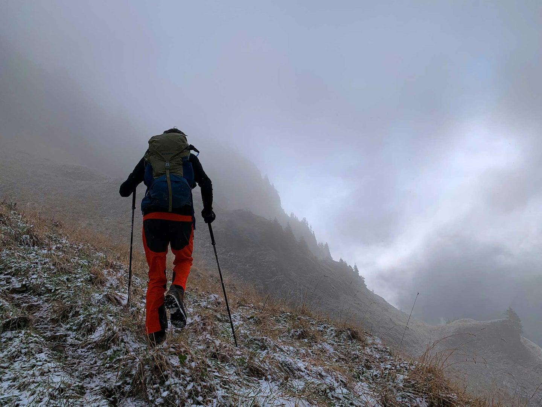 Person trekking on a mountain