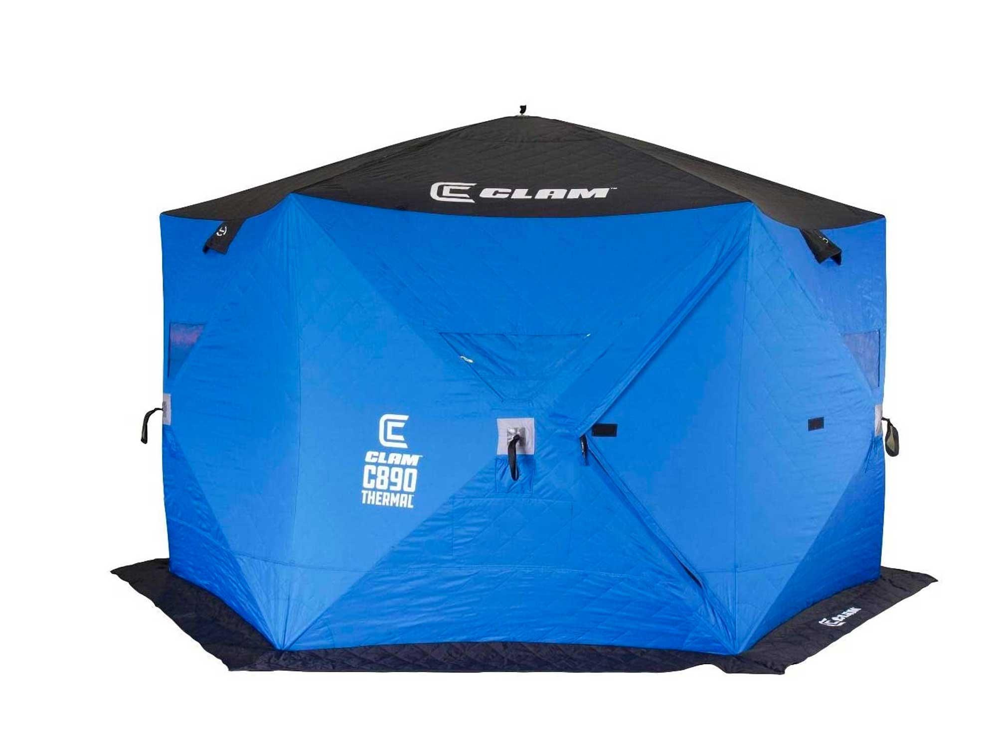CLAM 5-6 Person 11.5 Foot Lightweight Portable Pop Up Ice Fishing Angler Thermal Hub Shelter