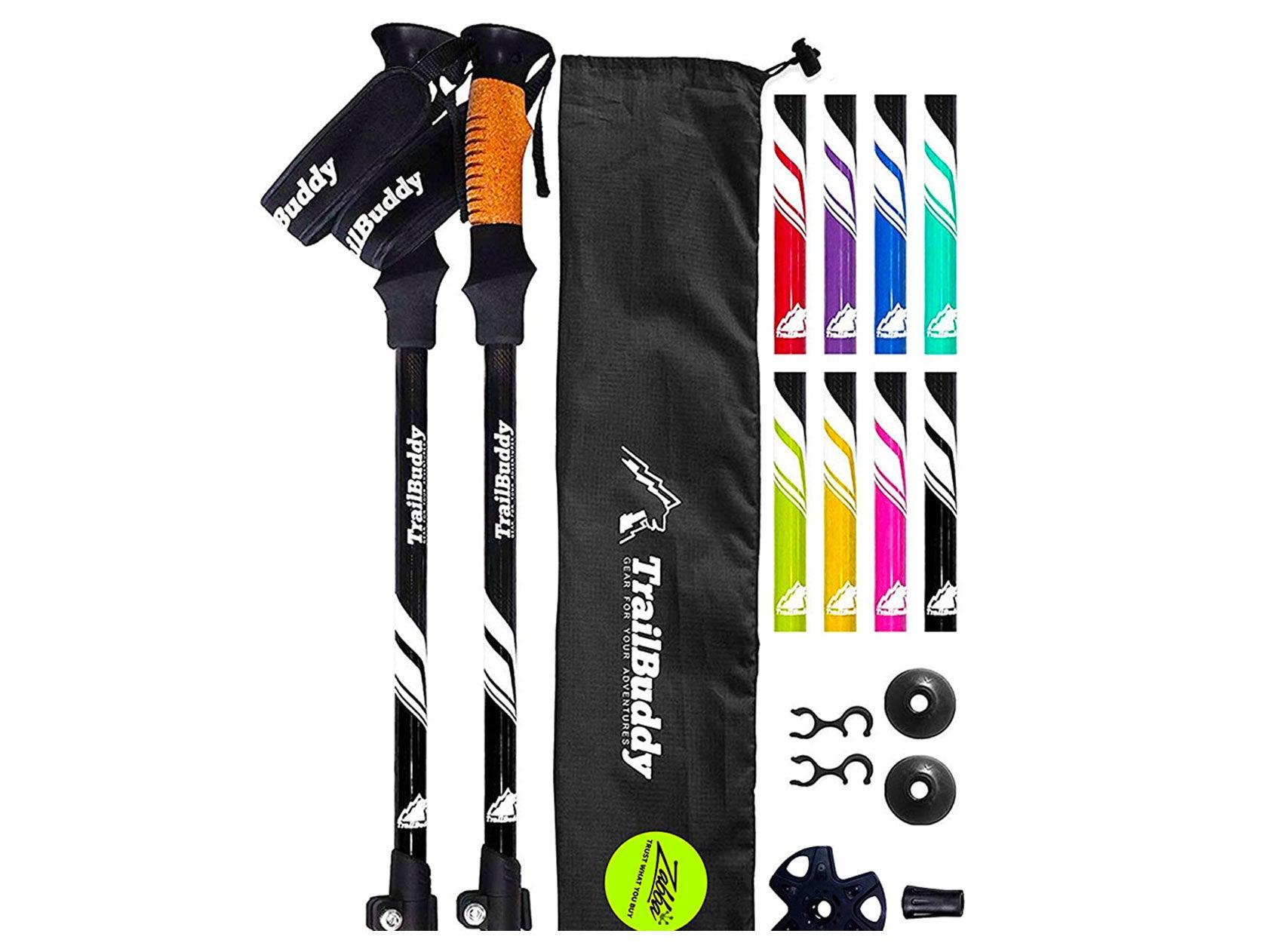 TrailBuddy Trekking Poles - 2-pc Pack Adjustable Hiking or Walking Sticks