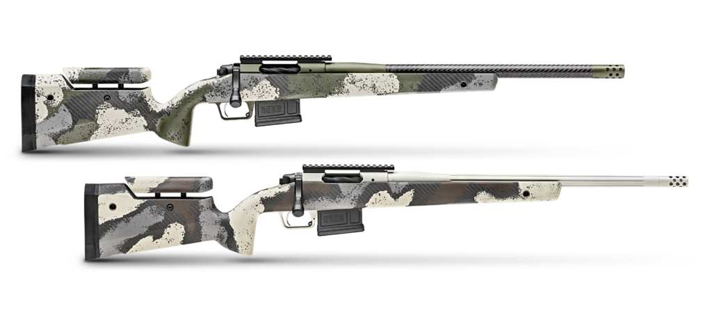 Two Springfield Armory Waypoint bolt-action rifles.