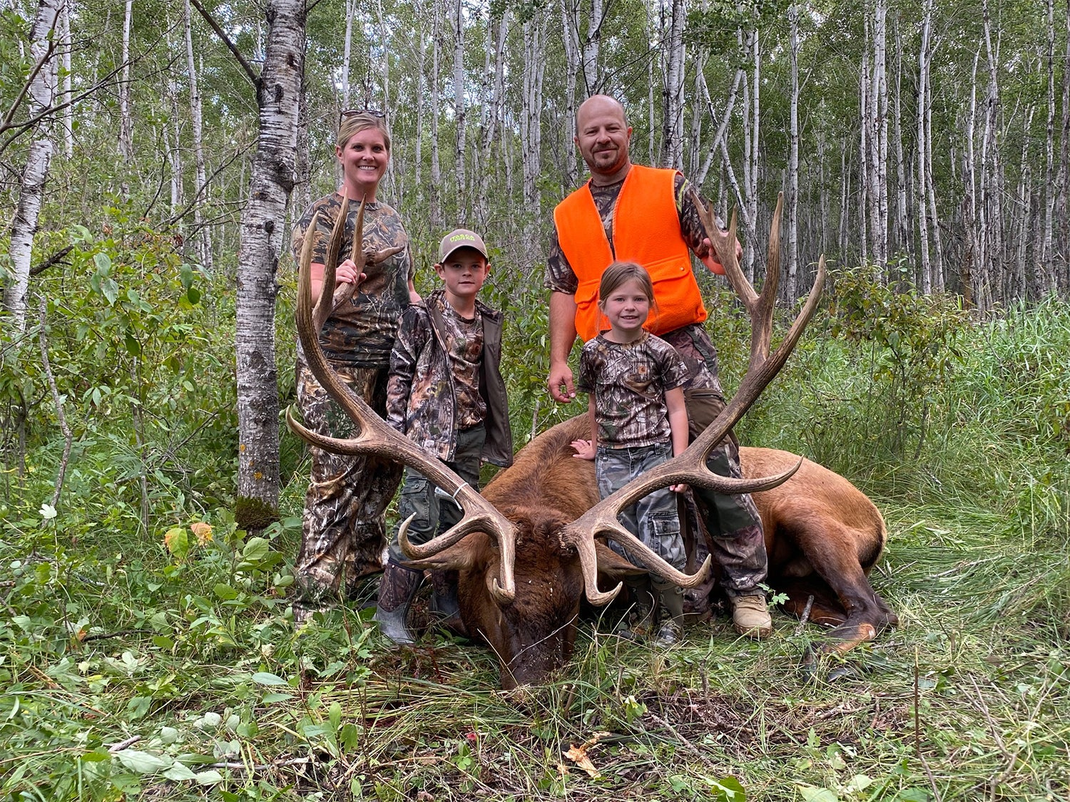 A family of four stands behind a large elk.