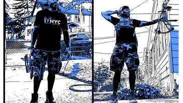 Blue, black, and white illustrations of a bowhunter in NYC.