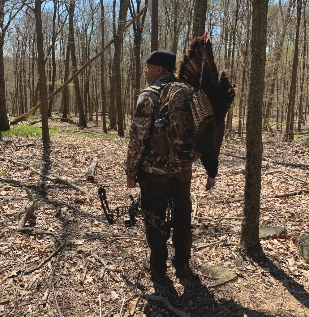 An urban bowhunter who made the trip to the spring turkey woods.