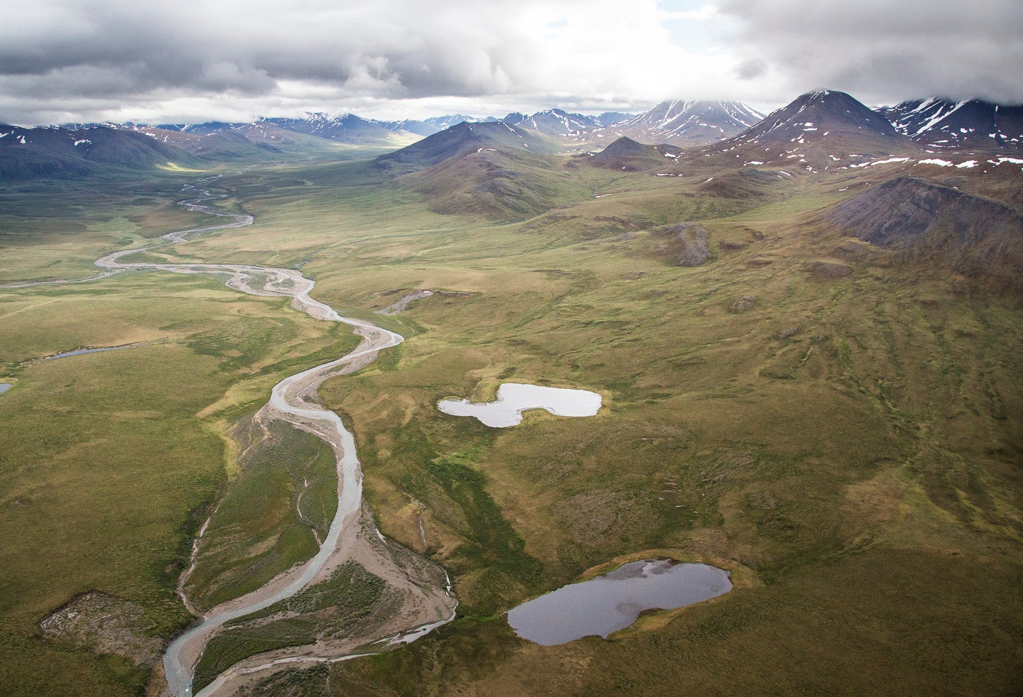 The Central Arctic Management Area - a BLM Wilderness Study Area - sits between NPRA and Gates of the Arctic National Park in Alaska. This little known 320,000 acre area is starkly beautiful and made up of rolling tundra and snow covered peaks.