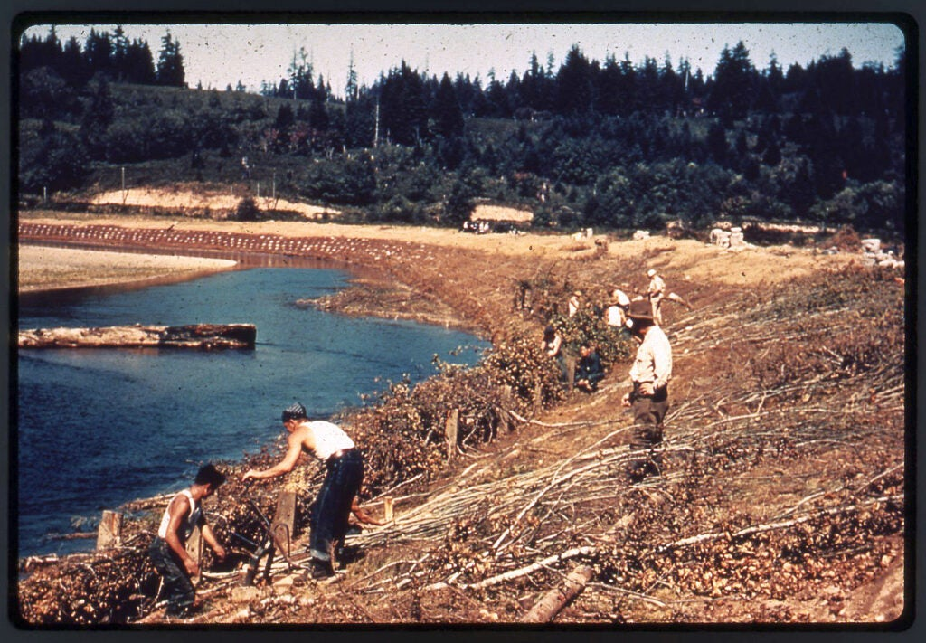 Civilian Conservation Corps working on environmental projects.