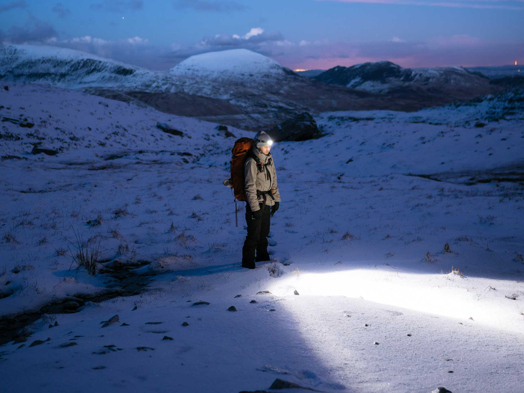Person wearing the best headlamp at night