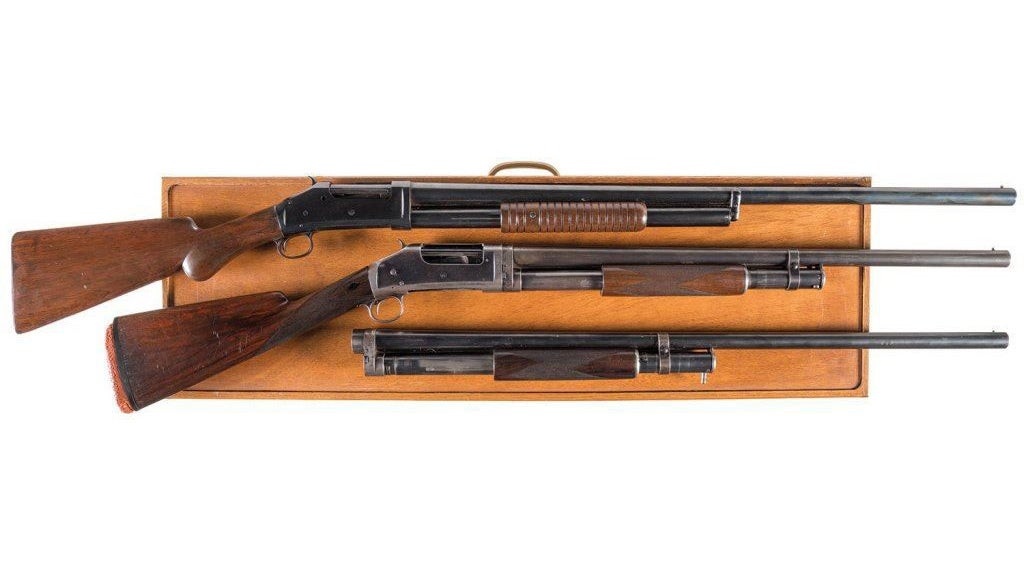 The 1893 is a black powder gun and was later replaced by the 1897 when smokeless powder became more popular.