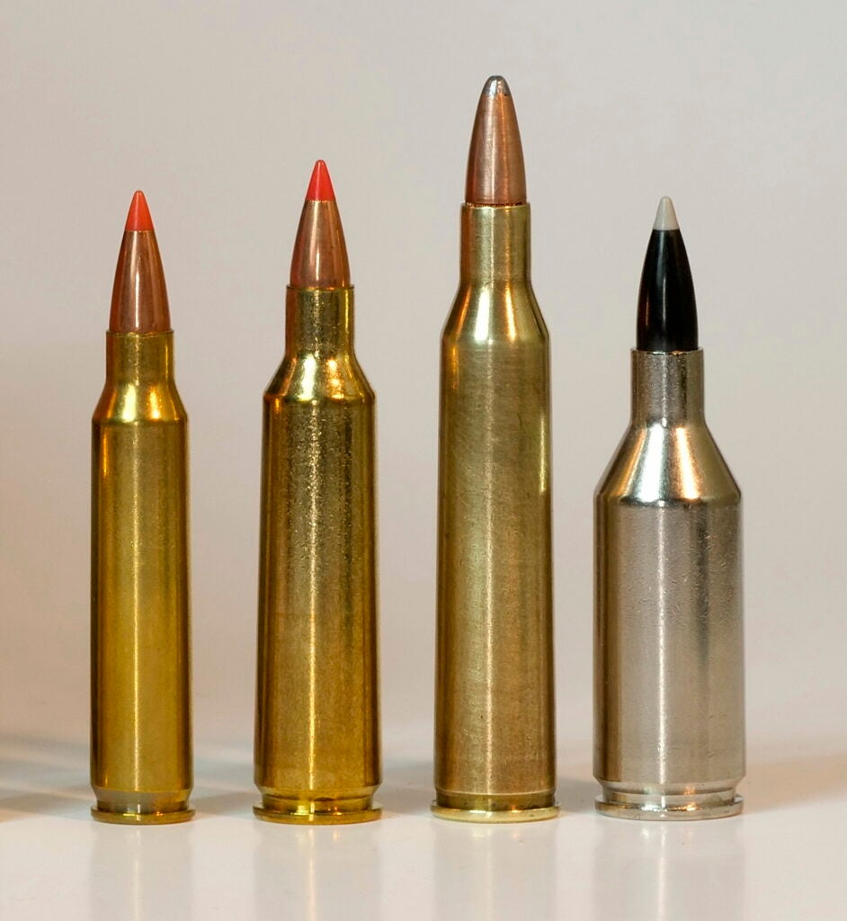 The .223 WSSM (far right) is the only .22-caliber that can match the .220 Swift in speed.
