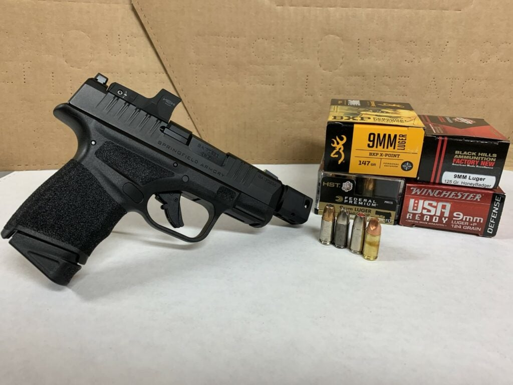 Springfield Armory Hellcat RDP personal protection handgun with various 9mm loads