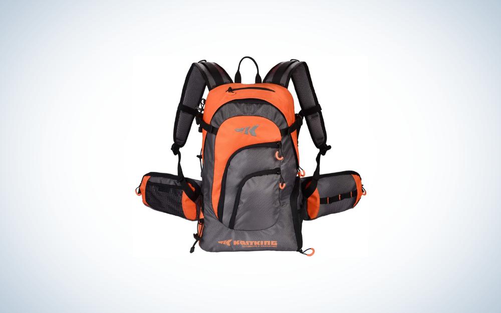 orange and black fishing backpack