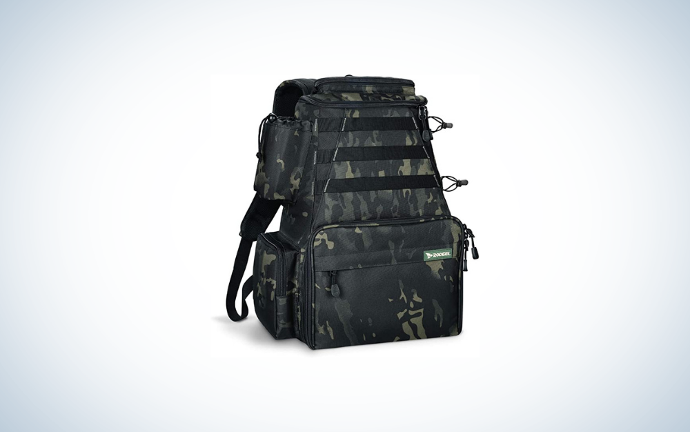camo fishing backpack with tackle boxes and fishing rod holders