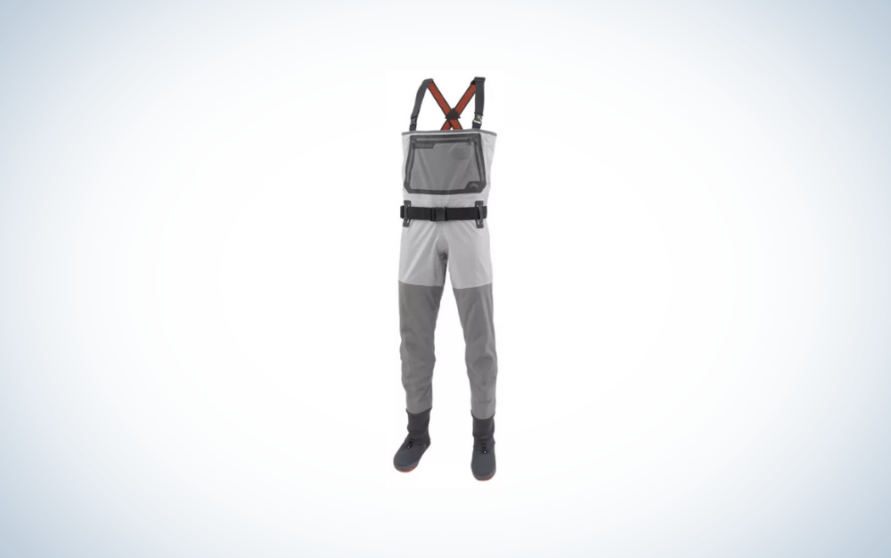 white and gray men's waders