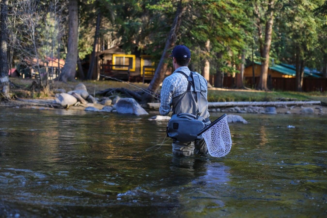 man fishing in a lake