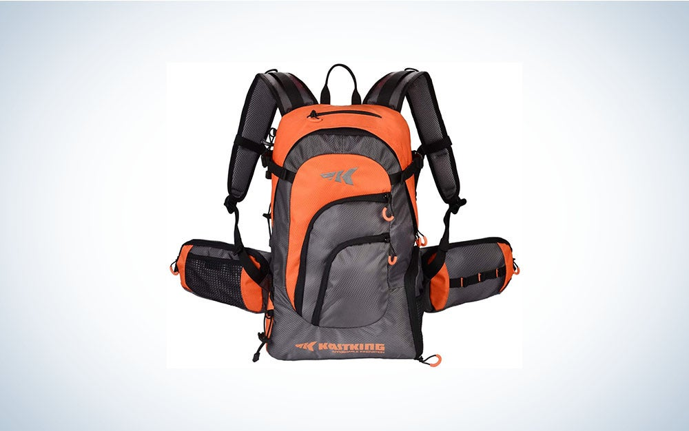 gray and orange backpack