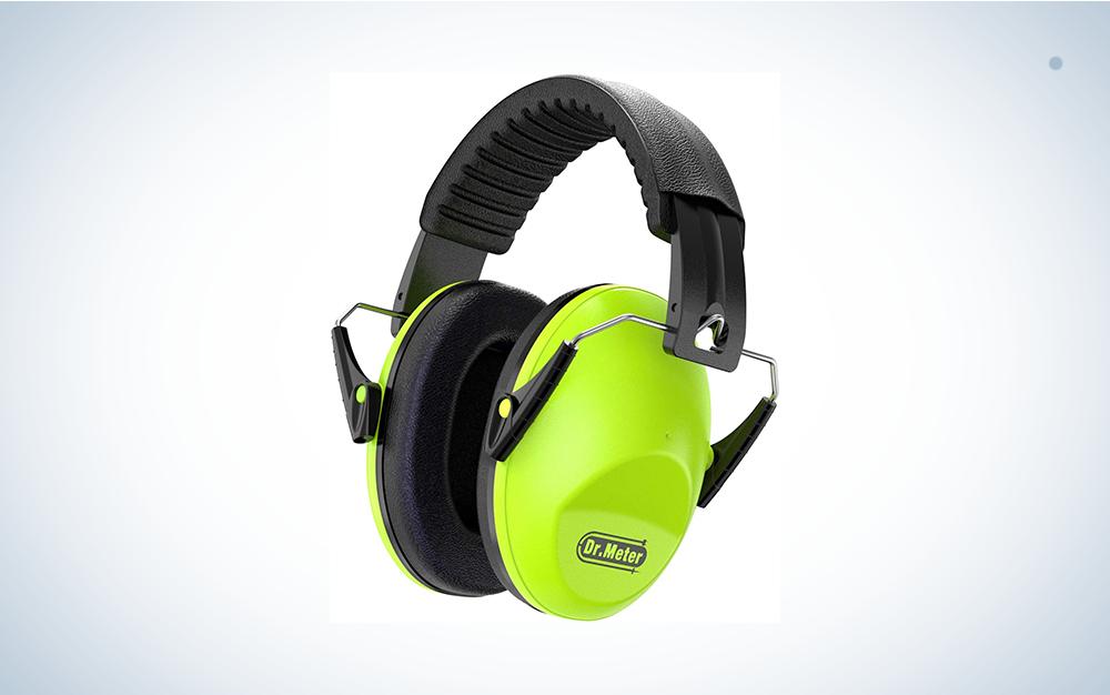 green and black earmuffs