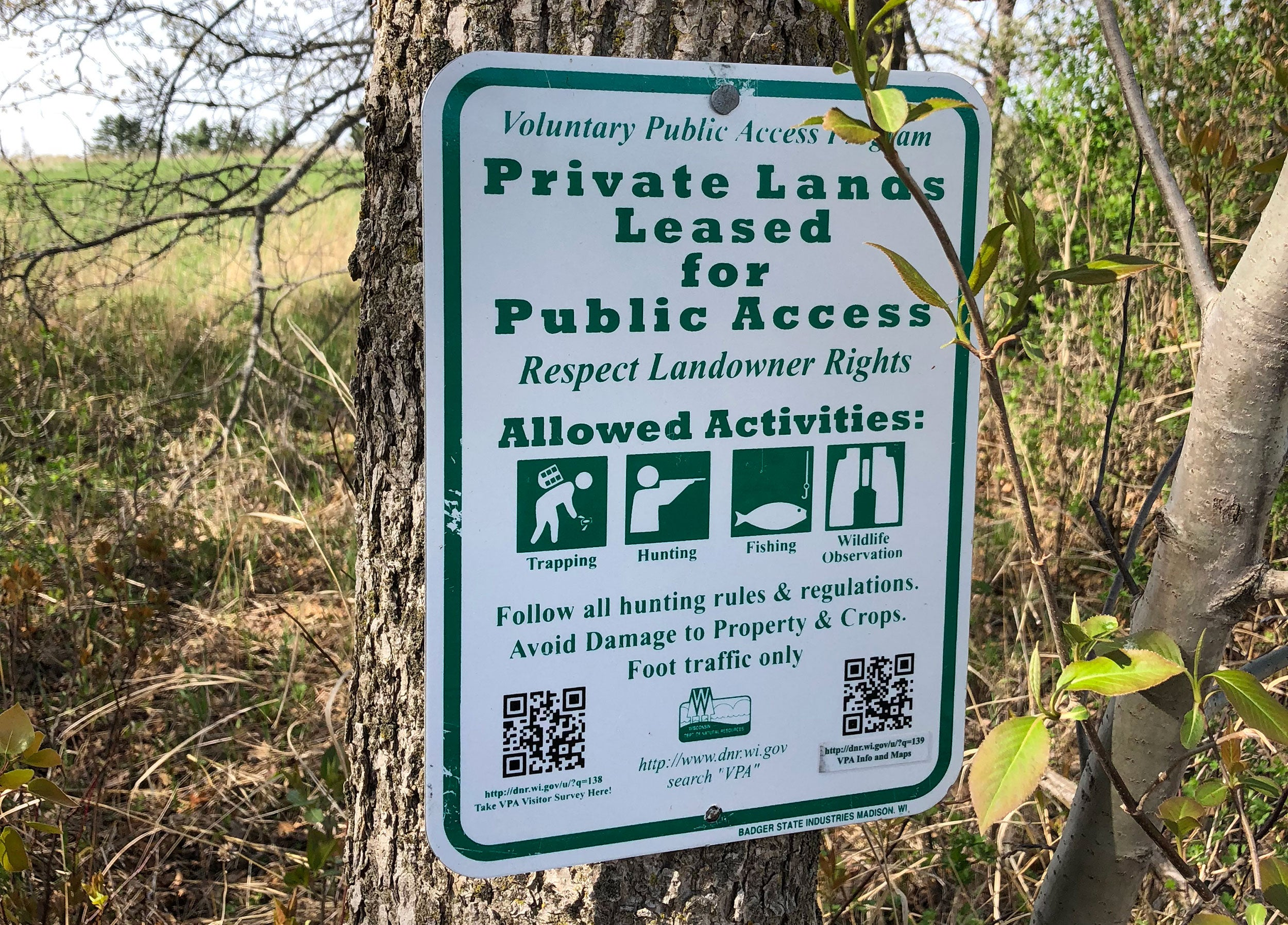 Voluntary public access allows public hunting on private land.