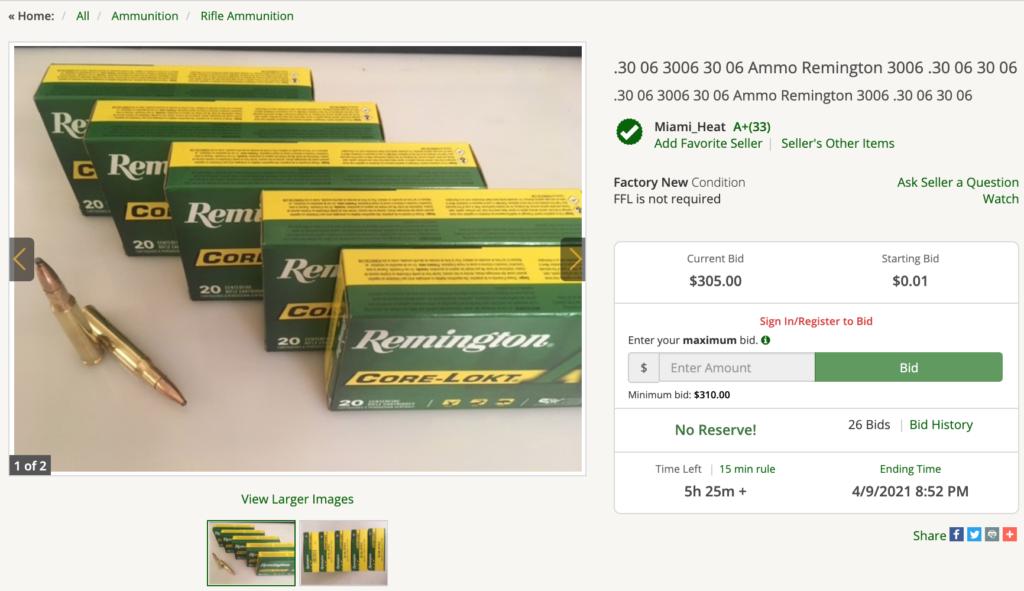 Remington ammo for sale on GunBroker.