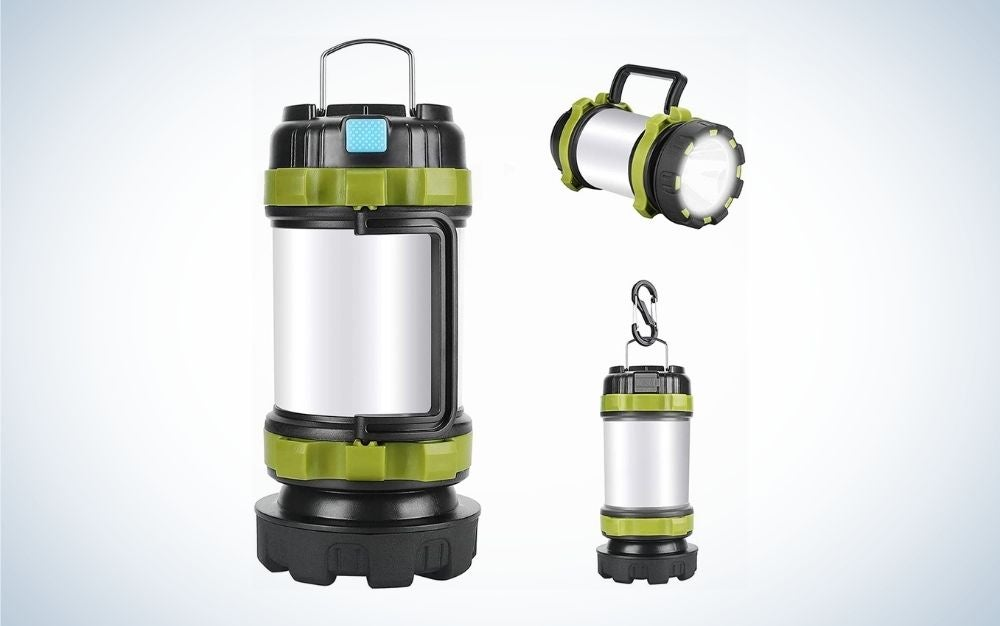 Green Led camping lights with different handles