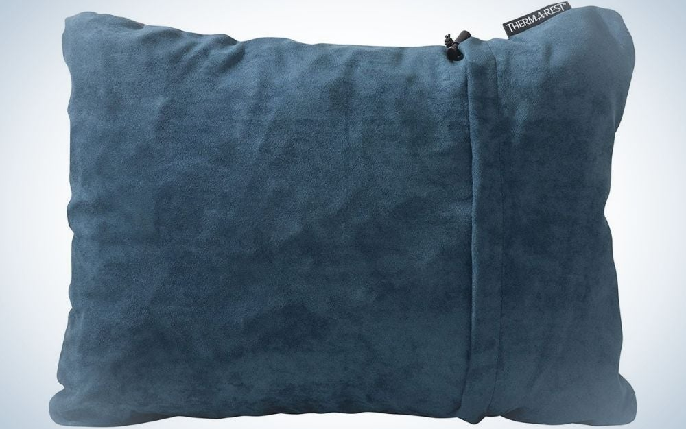 A square blue little Thermarest pillow.