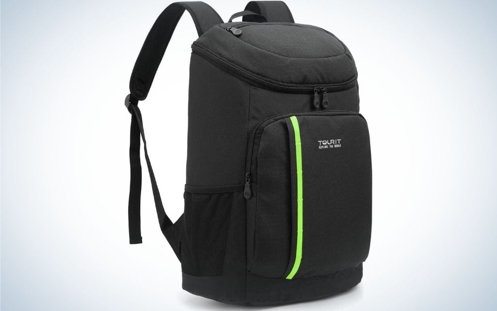 A black backpack with a main zippered pocket in the center of the bag and two other zippered pockets on the sides of the bag.