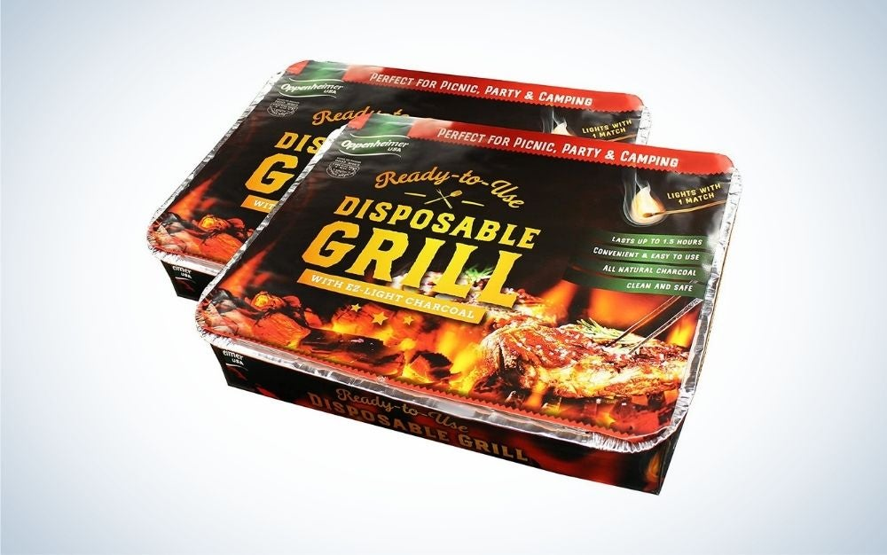 Two disposable charcoal grills