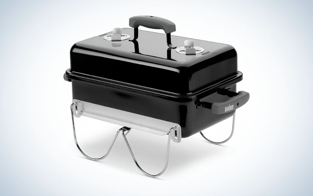 Black porcelain coated cast iron charcoal grill