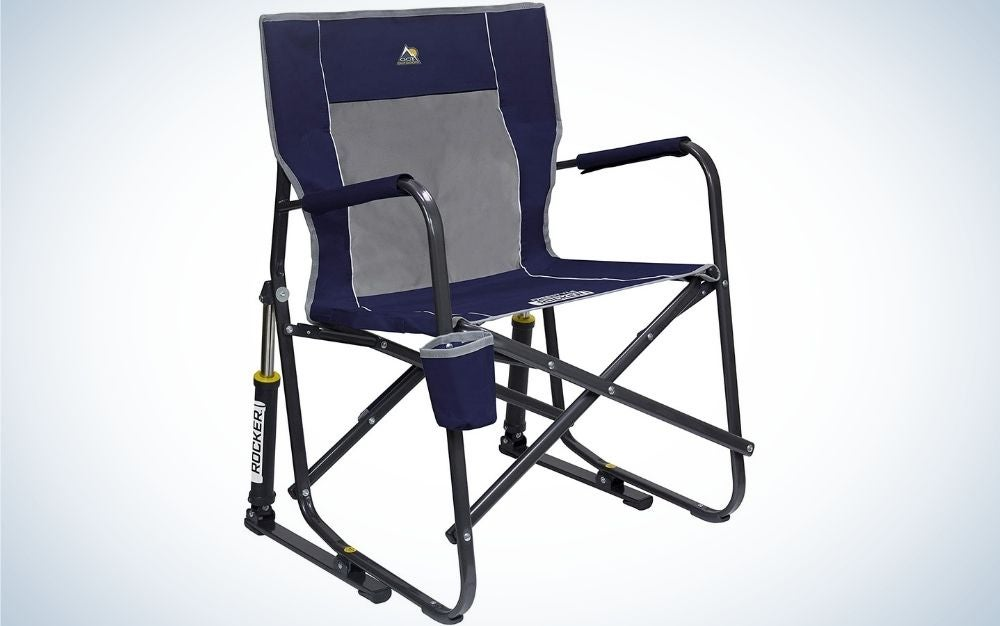 A blue portable outdoor rocking chair that folds flat for storage and transportation.