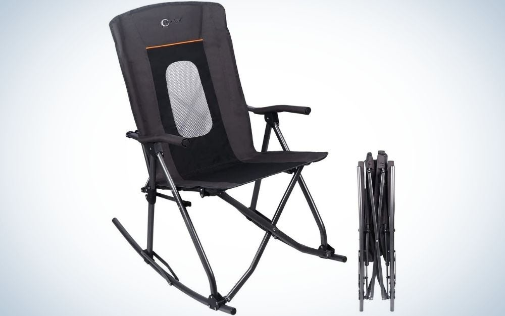 A chair with metal legs and a black seat from the back with transparent nets and hand support in it.