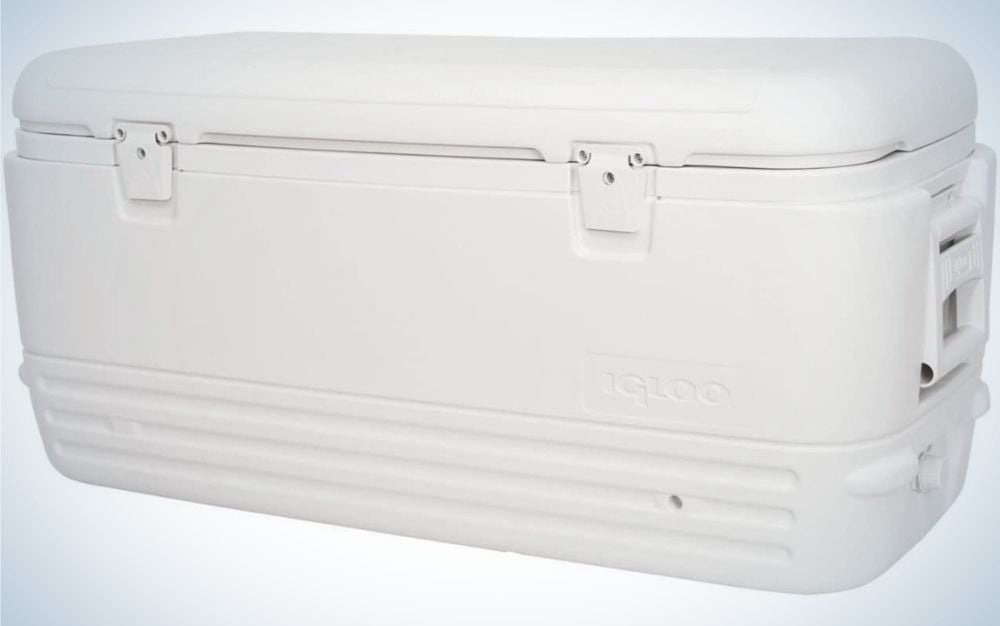 A big white box in a rectangular structure all white.
